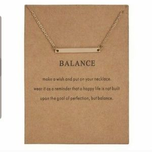 "Gold ""Balance"" Horizontal Bar Pendant Necklace"